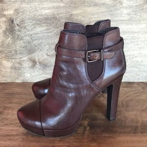 GIANNI BINI Brown Leather Heel Boots Moto Toe 9.5
